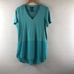 📦Teal green Medium Loose fitted hi low shirt